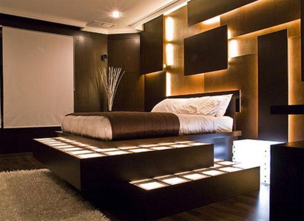Schlafzimmer ideen  schlafzimmer ideen wandgestaltung braun. beleuchtung im ...