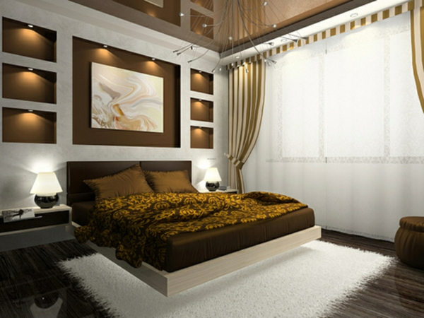 modernes schlafzimmer mit einer interessanten wand