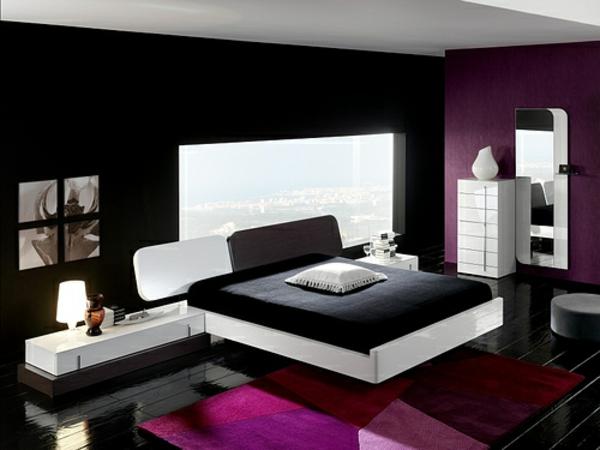 originelle-schlafzimmer-ideen-lila-teppich