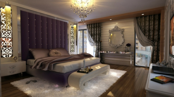 originelle-schlafzimmer-ideen-super-lila-gardinen