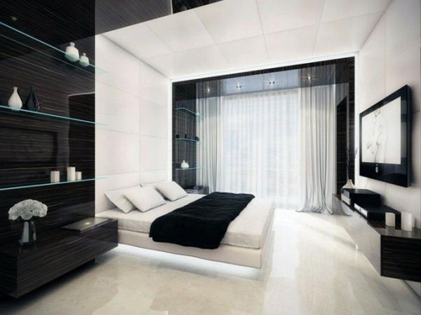 originelle-schlafzimmer-ideen-weiß-und-schwarz-kombinieren