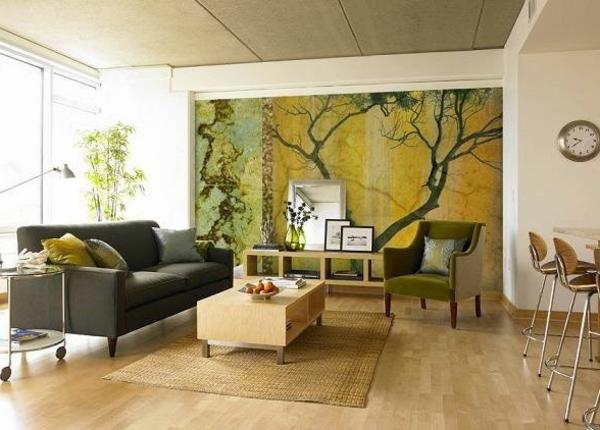 originelle-wohnzimmer-deko-akzentwand-sehr-interessant
