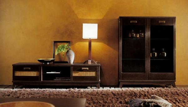 schöne wohnzimmer deko:hölzerne schränke im schönen wohnzimmer
