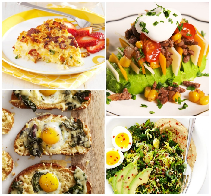 psterbrunch rezepte, avocado mit käse, tomaten und knoblauchsoße, toasts mit eiern, köse und pilzen