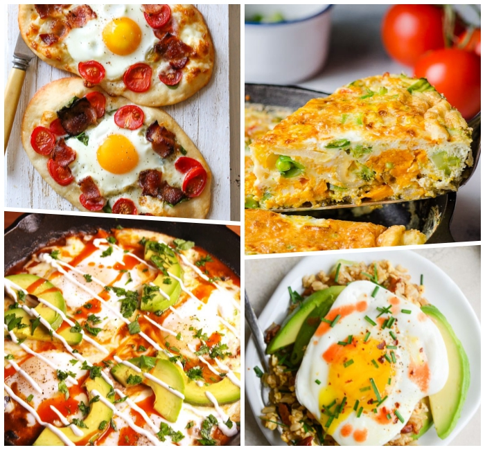 osterbrunch rezepte, frühstück aus eiern, chedar und bohnen, mini pizzas mit eiern und cherry tomanten