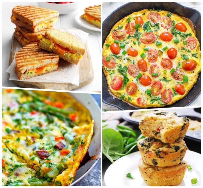 psterbrunch rezepte, toasts mit eiern und tomaten, omelette mit cherry tomatne und spinat, salzige muffins