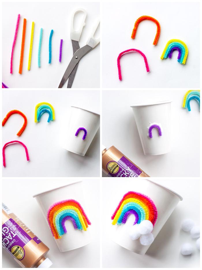 party deko kindergeburtstag, partybecher regenbogen, schritt für schritt anleitung in wort und bild