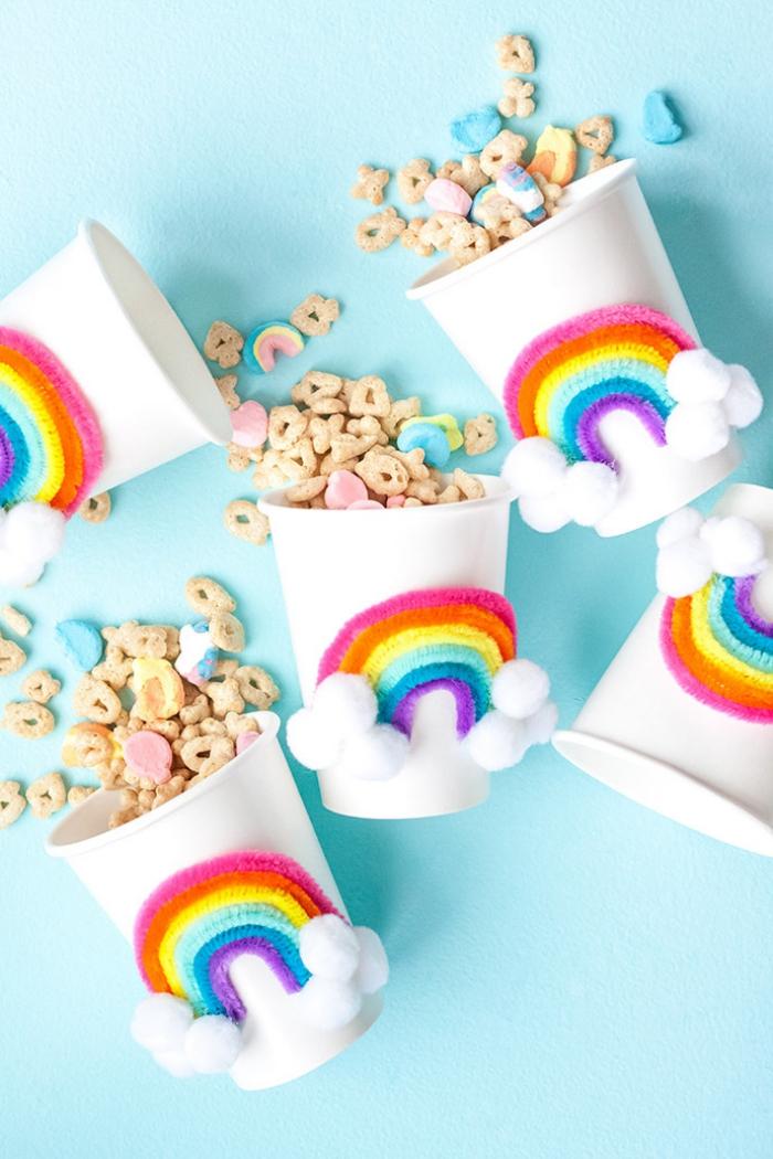 party deko ideen, regenbogen partybecher selber machen, partydeko kindergeburtstag