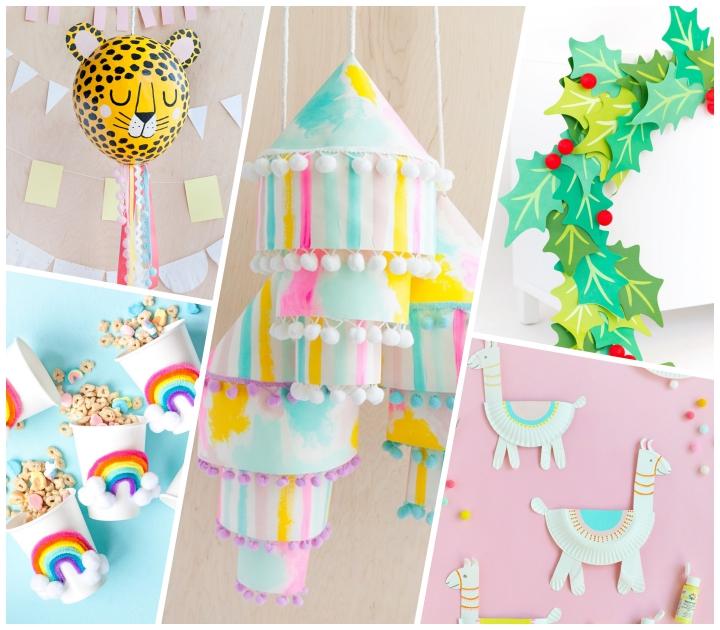 party deko, tiger pinata selber machen, mobile aus papier, girlande aus blätter, partydeko ideen, lamas aus papiertellern