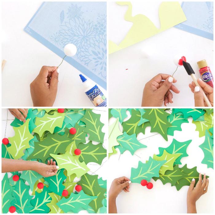 party deko selber machen, basteln zu weihnachten, girlande aus papierblättern, tutorial