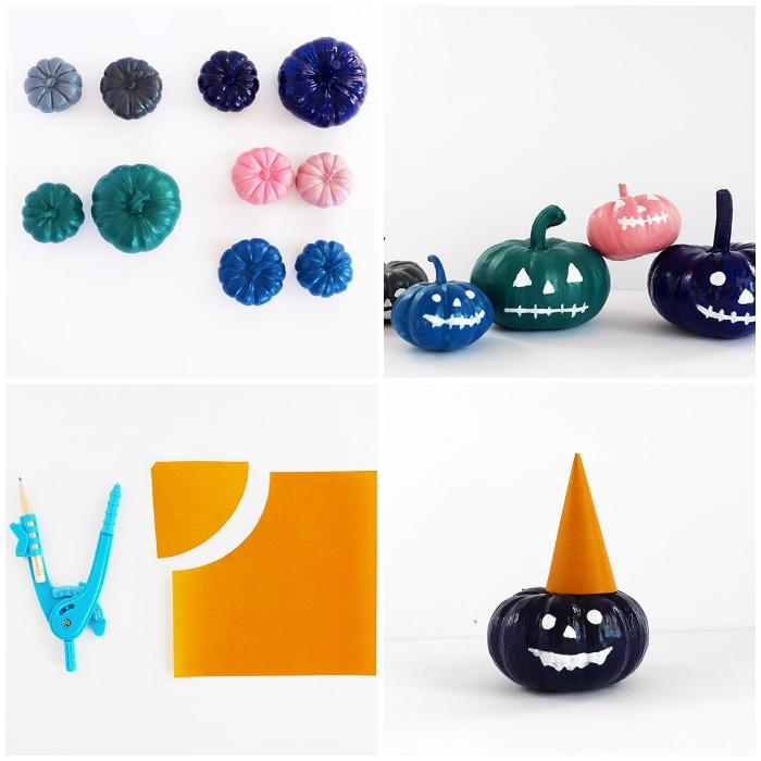 party dekoration zum hallooween, halloween deko selber machne, mini kürbisse dekorieren