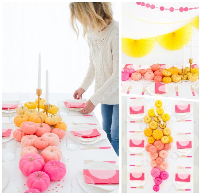 party dekoration ideen, halloween deko aus kürbisse, tisch dekorieren, tischläufer in ombre look