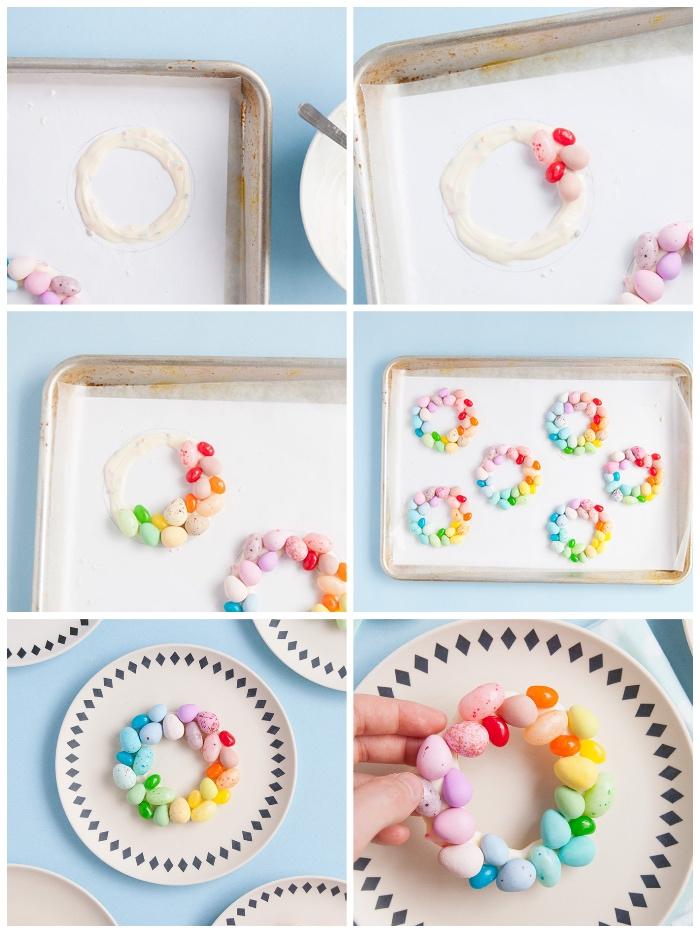 partydekoration selber machen, kleiner kranz aus weißer schokolade und bunten eiern, tellerdeko