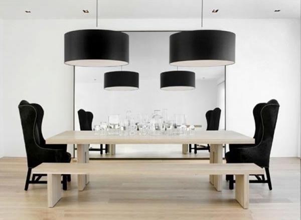 pendelleuchten-für-esszimmer-schwarze-lampen-schöne-stühle