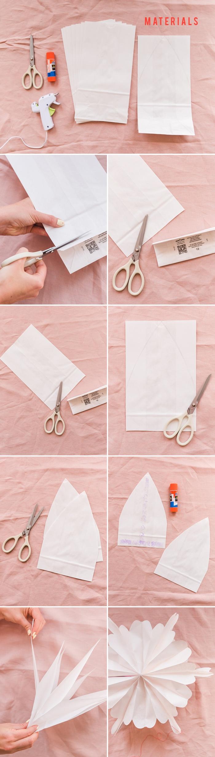 pink deko, basteln mit papier, hängende dekroationen, schritt für schritt anleitung
