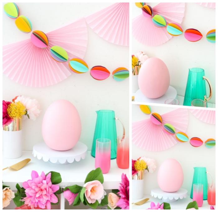 pink deko ideen, parytdekoration selber machen, girlande aus papiereiern, farbenfrohe partydeko
