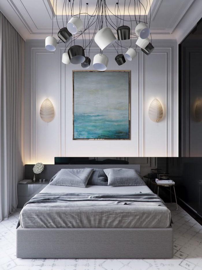 Kleines Schlafzimmer einrichten Ideen, Schlafzimmer in Grau, abstraktes Gemälde