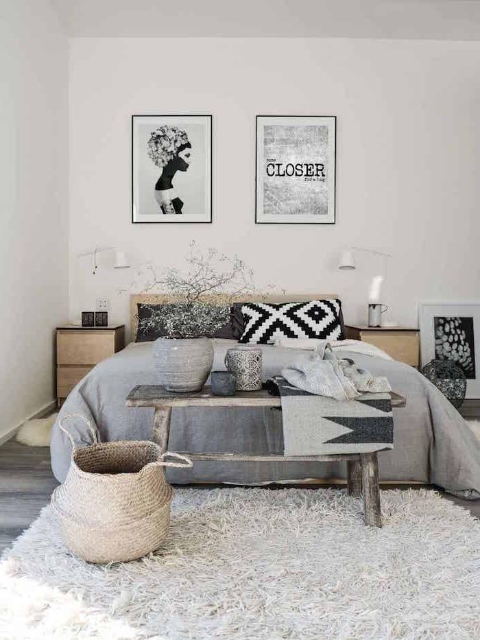 Bogo Schlafzimmer Ideen, Möbel aus Holz, Deko Artikel aus Rattan, flauschiger Teppich