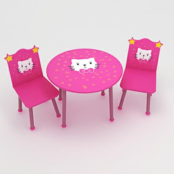 rosige-kindermöbel -runer-tisch-und-stühle
