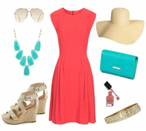 rote-sommerkleider-modische-outfits-damenmode-sandalen-mit-keilabsatz