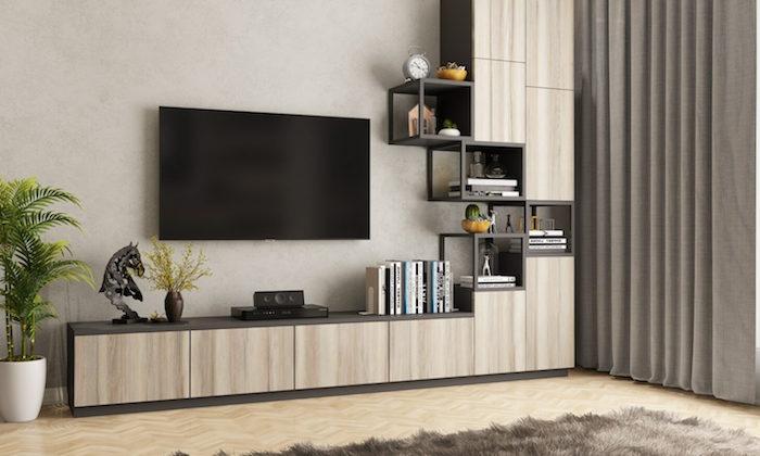 Fernseher an der Wand, Bücherregal aus Holz, Grünpflanze in weißem Blumentopf