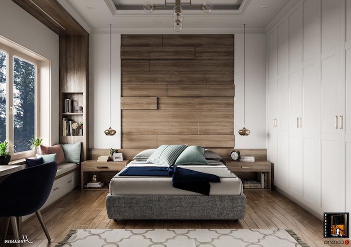 Schlafzimmer modern gestalten, Möbel aus Massivholz und Holzwand