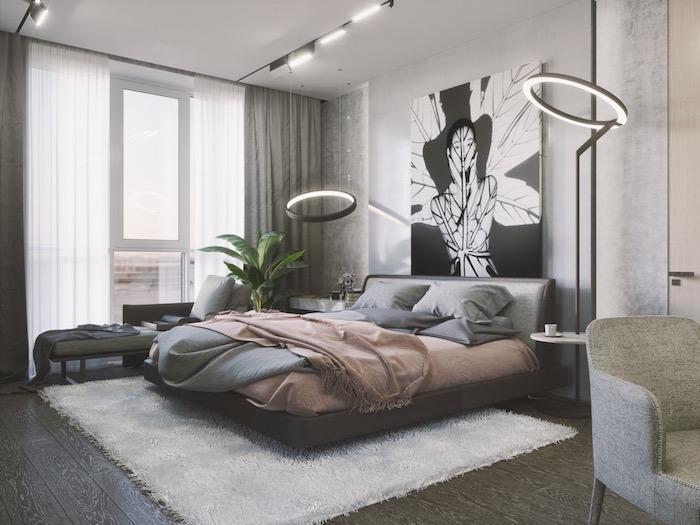 Schlafzimmer in Grau, runde Stehlampen, schwarz weißes Bild