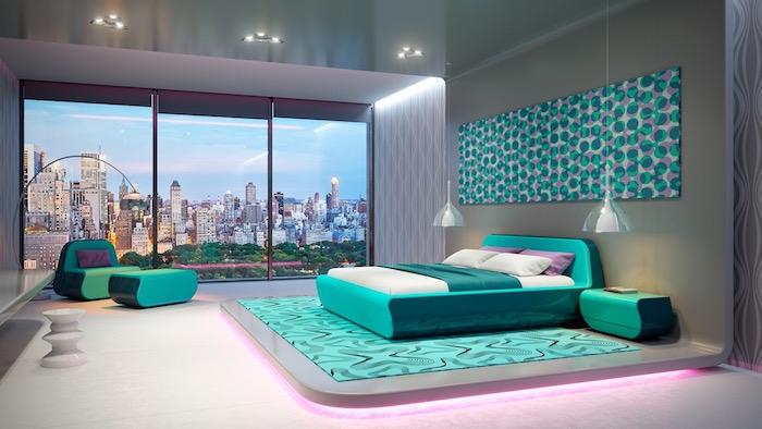 Moderne Schlafzimmer Einrichtung, Möbel und Teppich in Türkis