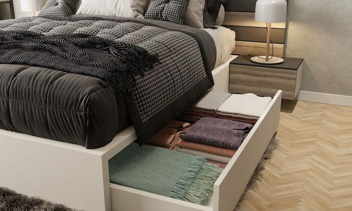 Kleines Schlafzimmer einrichten Ideen, Bett mit integriertem Schrank