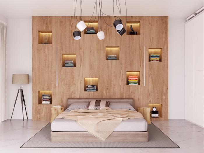 Kleines Schlafzimmer einrichten Ideen, Bücherregale integriert in der Wand