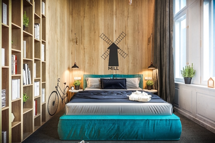 Schlafzimmer Ideen für kleine Räume, Holzwand mit Wand Tattoo
