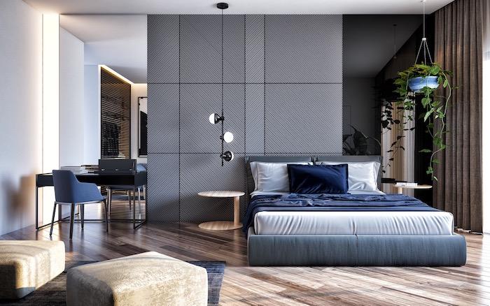 Schlafzimmer Einrichtung puristisch, Wandfarbe grau, hängende Grünpflanze