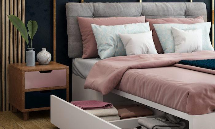 Schlafzimmer Ideen für kleine Räume, Bett mit integriertem Schrank, altrosa Bettwäsche