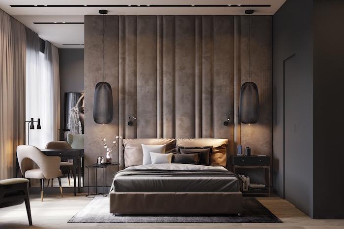 Schlafzimmer einrichten Ideen in Beige, zwei Hängelampen über dem Bett