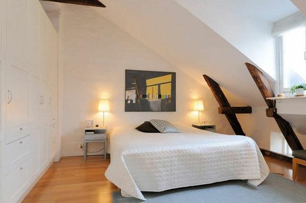 Gut Schlafzimmer Mit Dachschräge Weißes Attraktives Bett Modell
