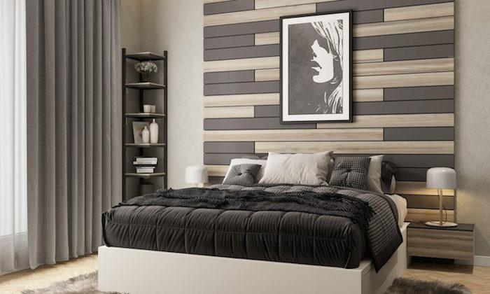 Schlafzimmer Einrichtung in Schwarz und Weiß, Holzwand und Eckregal