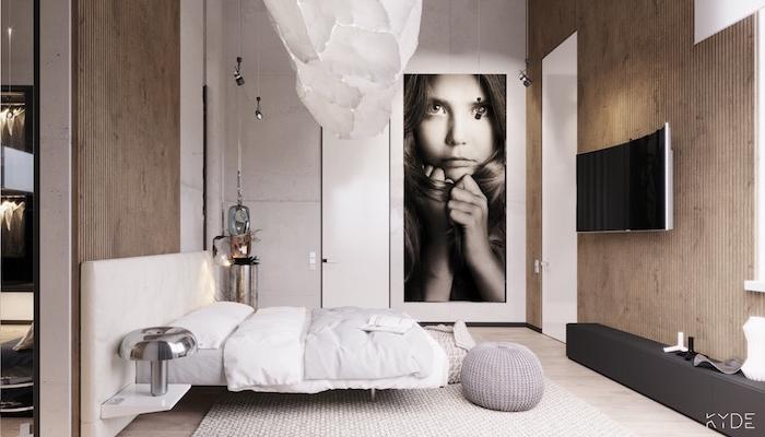 Kleines Schlafzimmer einrichten Ideen, weißes Bett, weißer verspielter Kronleuchter