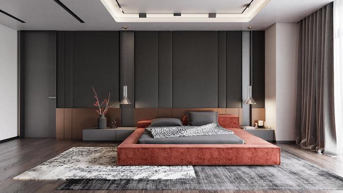 Schlafzimmer gestalten puristisch, Wandfarbe Schwarz, rotes Bett