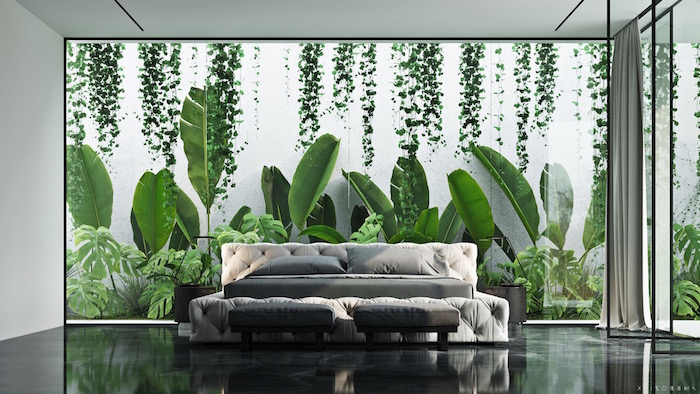 Schlafzimmer gestalten minimalistisch, Wandgestaltung mit Dschungel Motiv