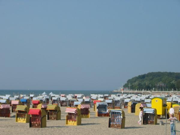 viele-single-strandkörbe-auf-dem-sand-im-sonnigen-wetter - wunderschönes foto