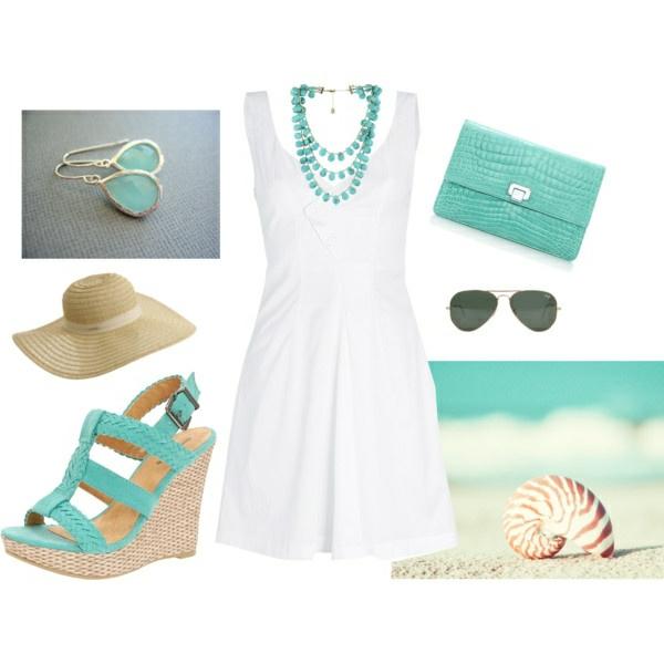 weiße-sommerkleider-modische-outfits-damenmode-sandalen-mit-keilabsatz