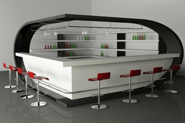 weißer-bar-und-rote-barstühle