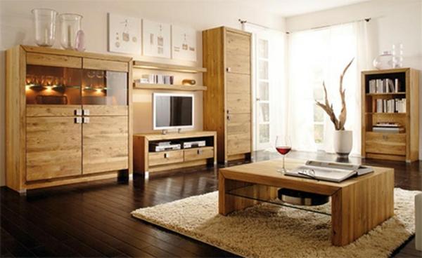 wohnzimmer-tisch-schränke-echtholz