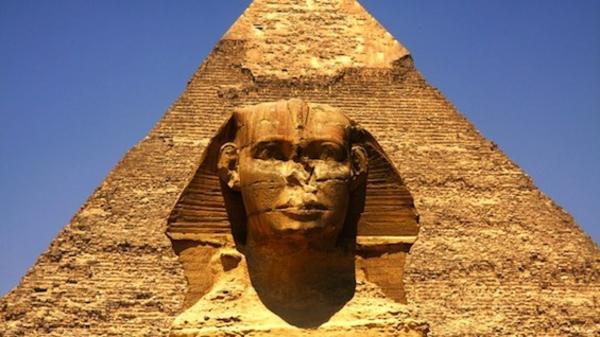 Ägypten-Reise-sphinxs - blauer hintergrund