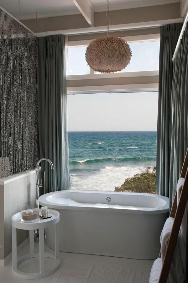 Badezimmer-Meer-Ansicht-Vorhänge-Leuchte
