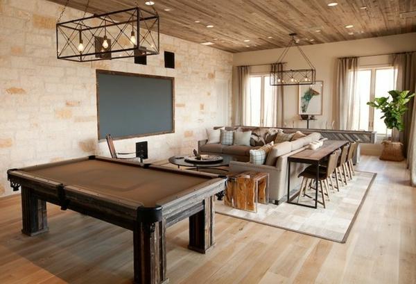Billardtisch-Holz-beige-Wohnzimmer-Sofa-Kissen-Blumentopf