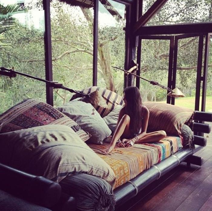 Boho-Stil-Kissen-Schlafzimmer