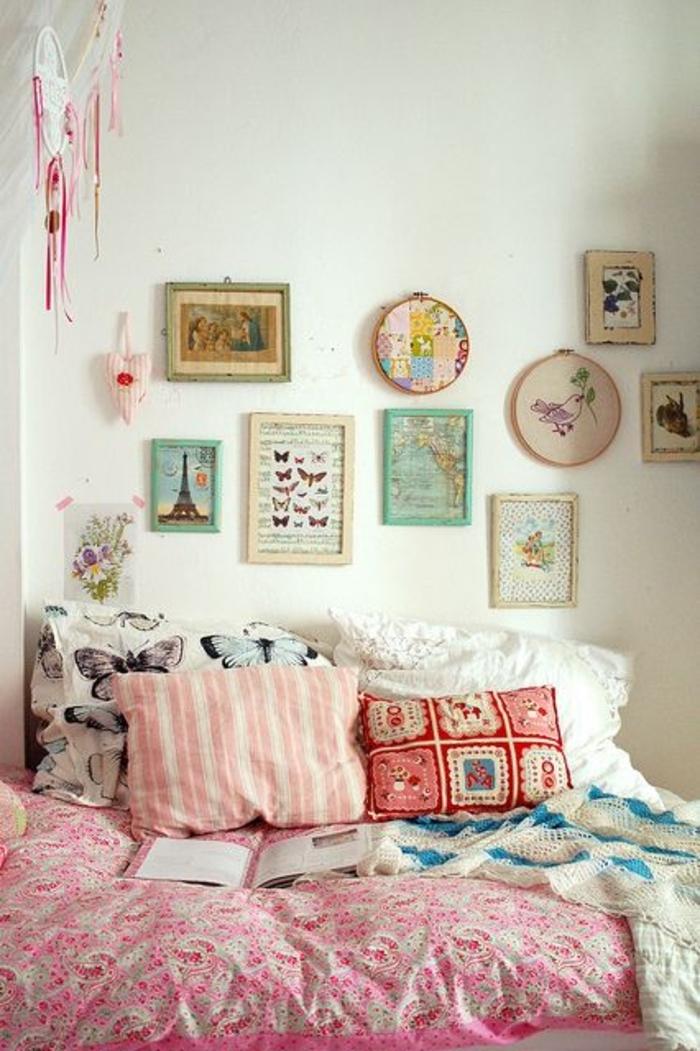 Boho-rosa-Schlafzimmer-Kissen-Bilder-Traumfänger