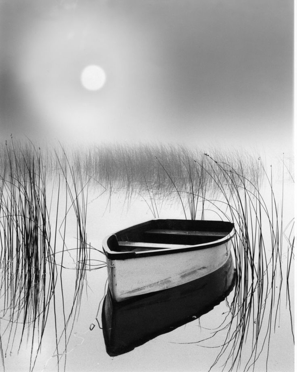schwarz-weiß-Fotografie-Boot-See
