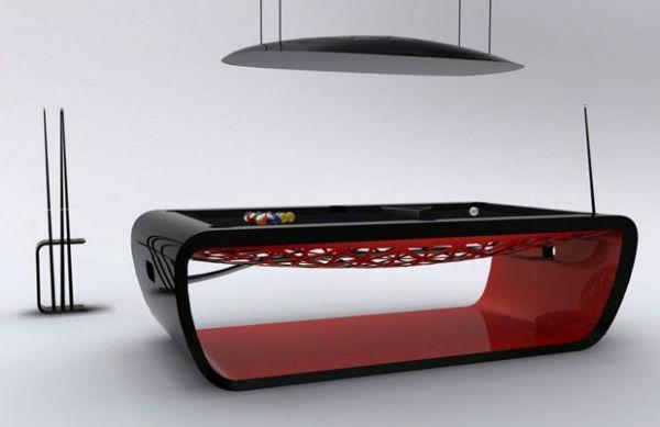 Designer-Billardtisch-rot-schwarz-Glanz-Oberflächen